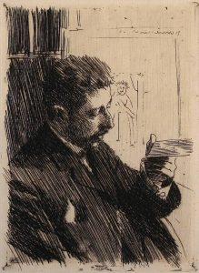 Prins Eugen den första ordföranden för Konstnärernas vänner. Etsning av Zorn
